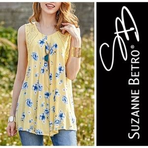 Suzanne Betro Floral Lace Sleeveless Tunic Top